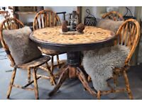 Pine Burn Solid Wood Round Dining Table 4 Chairs