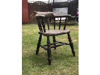 Antique Bow Arm Smokers Captains Chair