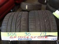 MATCHING PAIR 305 30 19 bridgestone r/flats 6mm TREAD £90 PAIR SUP & fitd 7dys (punct £8)