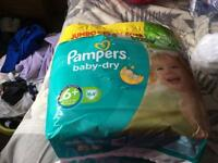 2 Packs Size 6+ Pampers Baby-dry Nappies