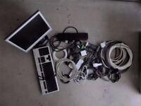 LCD monitor, keyboard, HDMI, LAN, Main power, Audio cables
