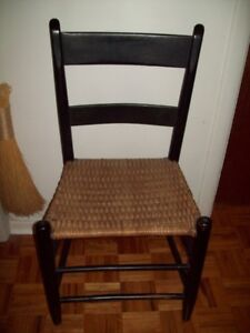 ANTIQUE ORIGINAL BLACK PAINTED SLAT BACK CHAIR ORIGINAL SEAT