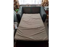 DFS 2 seater sofa bed with foot stool and 2 cushions