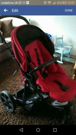 britax b smart travel system in red (pushchair, carrycot, car seat)