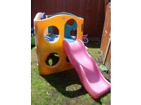 Litlle tikes climbing frame/cube with side £30 will need a jet wash and had faded in the sun