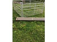 Sheep hurdles x4 with a trough