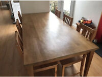 Large Solid Wooden Dining Table With Six Chairs
