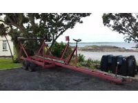 YACHT TRAILER: EXCELLENT CONDITION, 4 WHEELED, SUITABLE FOR YACHT UP TO 30 FT, READY TO GO