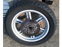 2011 Aprilia SportCity 300 Silver rear wheel with disk, decent tire in good condition