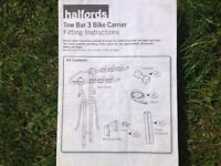 Halfords Tow Bar 3 Bike Carrier