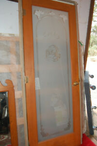 Pantry door and frame with frosted glass
