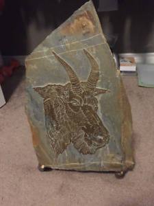 Slate etching of mountain goat