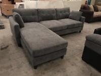 Brand new designer grey chaise corner sofa
