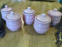 Mason Cash herb pots x 6 Pepperpot Pink. perfect for country kitchen, herb rack - new with labels
