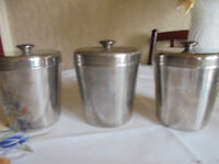 Set of Three Stainless Steel Tea Coffee Storage Canisters