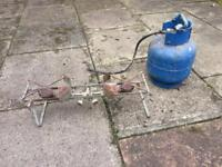 Camping gas stove with (empty) gas bottle