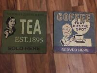 Tin kitchen plaques~pictures~tea~Coffee