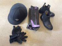 Horse riding hat, gloves, black sized 3 boots and calf protectors