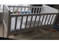 -A White Mothercar Crib, Mattress & 2 Crib Bedding Sets