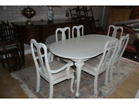 beautiful louis style extending table and six chairs shabby chic painted