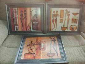 3 large African framed pictures wall art stunning