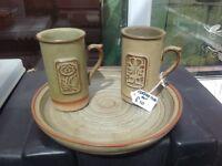 Coffee mugs and plate