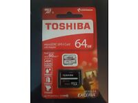 Genuine Toshiba Micro SD XC 64gb Card with Adaptor
