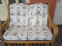 CONSERVATORY CANE SETTEE AND 2 CHAIRS