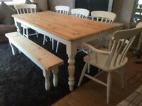 Amazing 6ft Shabby Chic Pine Table And 5 Chairs (Inc 2 Carvers) And Bench