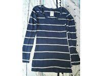 Womens Crew Striped Long Sleeve Top Size 8