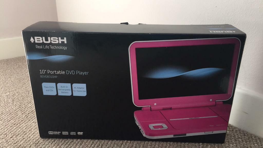 "Bush 10"" Pink Portable DVD player Still In Box Never Used"