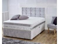 Crush velvet double divan bed with free head board