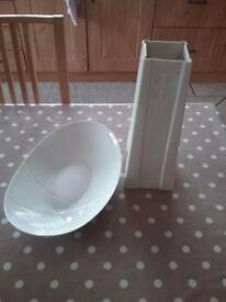 Belleek living vase and plate