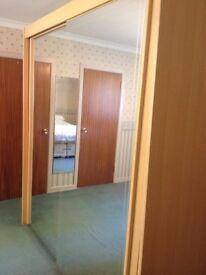 Wardrobe (Double) - Beech effect - Two full mirror sliding doors.
