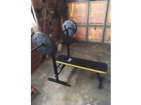 Everlast exercise weights bench with barbell and 50kg total weight plates.