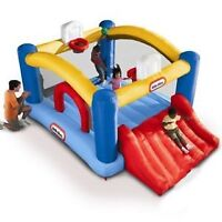RENT THIS BOUNCY CASTLE WITH SLIDE AND 2 BASKET BALL HOOPS