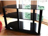 TV UNIT 3 TIER BLACK GLASS