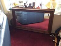 Large solid pine bevelled mirror