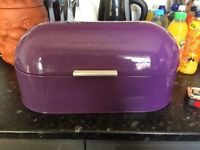 Purple Metal Bread Bin