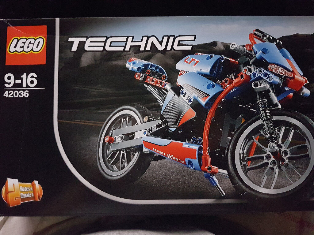 Lego Technic Street Motorcycle (42036in Sheffield, South YorkshireGumtree - Unopened and still in the box, though the box has a mild crease in the front Cruise on the open road with the awesome LEGO® Technic Street Motorcycle! This cool, sturdy model has all the features of the real life machine, including full fairing,...