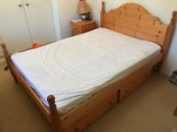 Solid pine double bed with two separate pine drawers on wheels