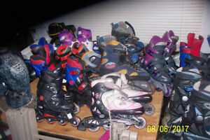 ASSORMENT OF KIDS,ADULT ROLLERBLADES,TENIS R.+MORE