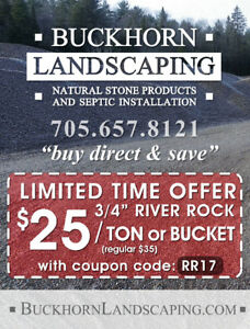 """SALE!!! 3/4"""" River Rock Sale """"buy direct and save"""" Buckhorn, ON"""