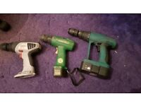3 cordless drills for sale NO CHARGERS