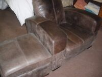 CHUNKY LEATHER ARMCHAIR AND MATCHING STORAGE BOX