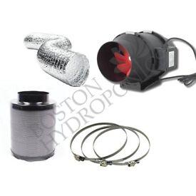 "Hydroponics Fox Carbon Filter Twin Speed Extractor Fan Kit 200mm 8"" Grow Set"