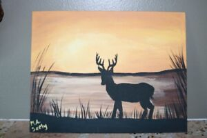 Sunset Buck painting by Mackenzie Seely