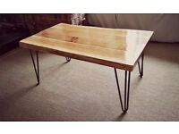 Solid oak hand made coffee table w/ hairpin legs