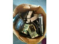 Box of Computer Parts and Cables Joblot