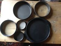 Lot of 6 Spring Form Cake Tins as new From 10.5 - 28 cm